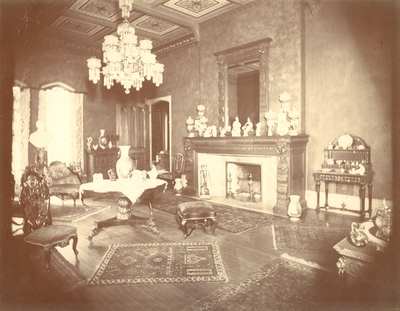 Loudoun House, interior; drawing room, fireplace visible