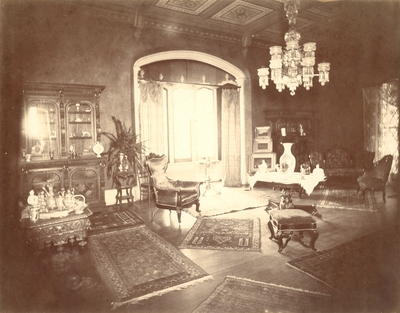 Loudoun House, interior; drawing room, main windows visible