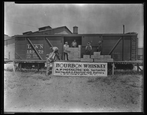 James E. Pepper Company (bourbon whiskey distillery); L&N (Louisville & Nashville) Railroad box car, banner