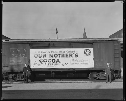 Pickerall and Craig; box car at tracks (W.T. Sistruck & Company, Our Mother's Cocoa)