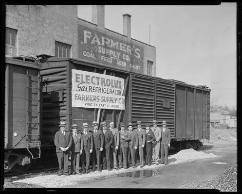 Farmer Supply, 325 East Vine; group and freight car