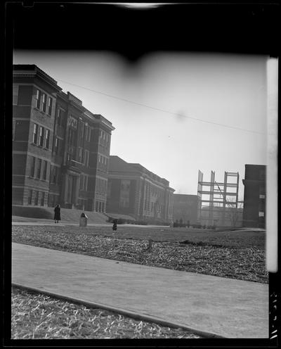 Campus Scenes; 1939 Kentuckian) (University of Kentucky), exterior, Pence Hall Physics building, various buildings in the background