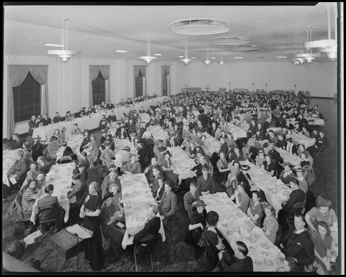 Kentucky High School, Forensic League; banquet, large group gathered in banquet hall (auditorium?)