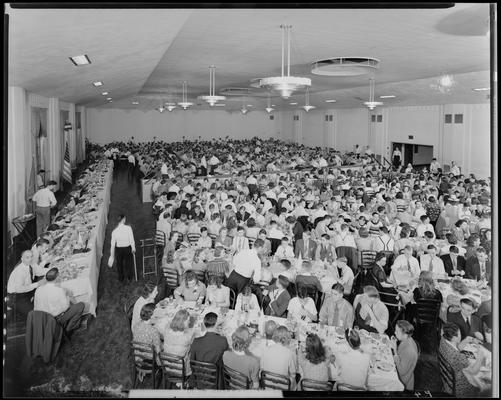 College Catering Company (corner of South Limestone and Euclid, in Student Union Building); banquet hall, hall filled to capacity with people