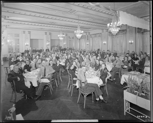 Southeastern Greyhound Lines; banquet, drivers (bus) and family dining in the banquet hall