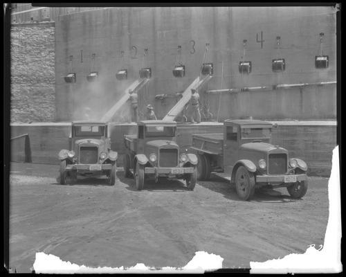 Fayette County Road Department trucks; salt-loading chutes
