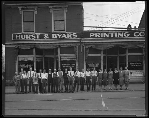 Hurst & Byars Printing Company; photo commemorates Grand Opening Wednesday, May 21, 1930; staff stands in front; 165, 167 North Limestone Street