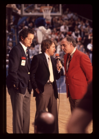 UK vs. LSU: NBC sportscasters Al Michaels, Bob Costas, and Billy Packer