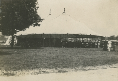 a large tent set up outside