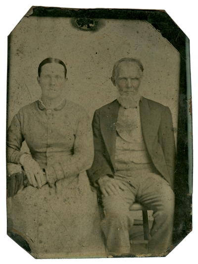 Hand-colored group portrait of an unidentified couple