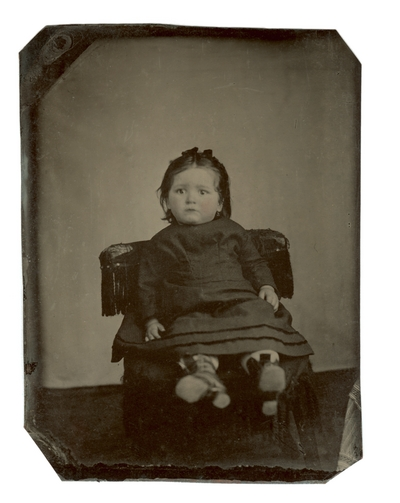 Portrait of Lettie Galbraith.  Hand written on album page,