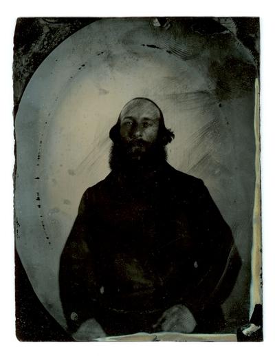 Portrait of unidentified Civil War soldier,  in a rectangular case