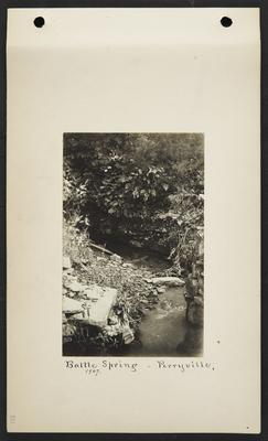 Small spring with a few large rocks, notation                          Battle Spring, Perryville, 1907