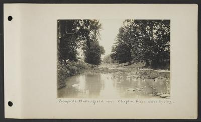Eleven ducks swimming near a bucket in a river, notation                          Perryville Battlefield 1907 Chapin River above spring