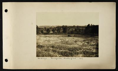 View over field, trees and hills in distance, notation                          Birdseye, Perryville Battlefield 1907