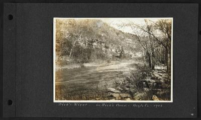 River, bluffs on left bank, flat rocks on right, notation                          Dick's River - in Rice's Bend - Boyle County - 1906