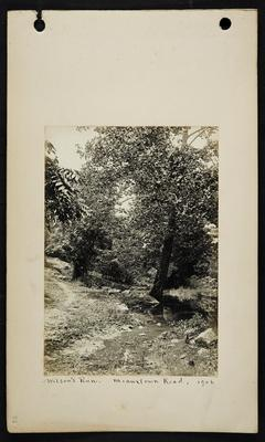 Shallow creek with small walking path running up hill on right, notation                          Wilson's Run. Meauxtown Road, 1906