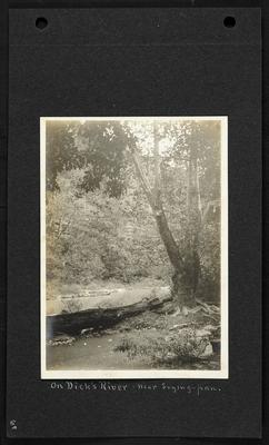 River with small pool created by fallen tree in foreground, bluffs in background, notation                          On Dick's River, near Frying Pan