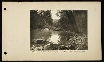 Calm section of river, rocky right bank, large flat rocks in river, notation                          Dick's River above mouth of Harrod's Run (A.S. Robertson) 1907