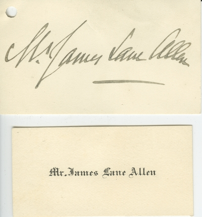 Name card of Mr. James Lane Allen in a small envelope