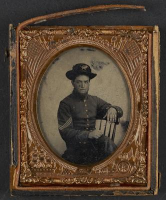 Joseph G. Gillis (1840-1886); served in the United States Army (1860-1865); noted in frame:                              Joseph G. Gillis Co. F 4th Regt. Ky. Vol. 3rd Division. Enlisted for war service in 1860, under Captain Wood. Honorably discharged at Louisville, July 16, 1864. Reenlisted, Dec. 18 1865 served till close of war. Born Nov. 3rd 1840. Died Oct. 24th 1886. By accidental gun shot while hunting. Grandfather of Hazel C. Sharp