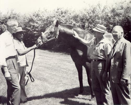 Horse Industry; Unidentified; Four men with a horse