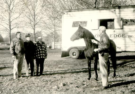 Horse Industry; Unidentified; Four men admiring a horse