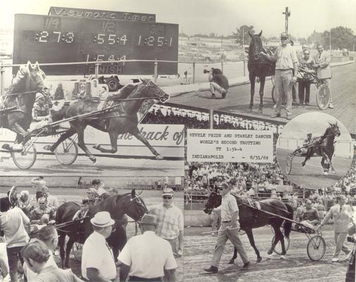 Horses; Nashua; Nevele Pride; Nevele Pride in Stanley Dancer collage, 1969