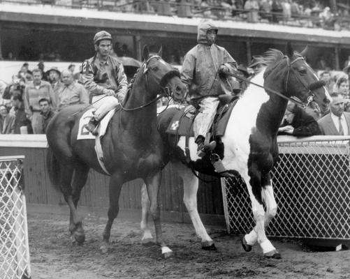 Horses; Riley; Speed Supreme; Silky Sullivan and his unidentified horse at the 1958 Kentucky Derby