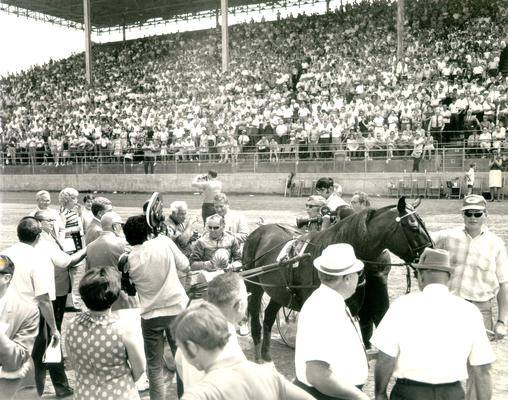 Horses; Harness Racing; Winner's Circle; Nevele Pride and Stanley Dancer, 1969