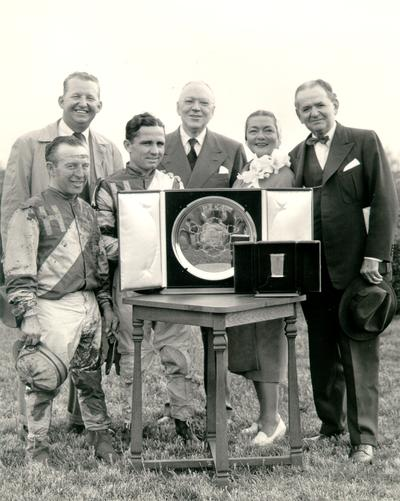 Horses; Harness Racing; Winner's Circle; Hasty House and owners in the Winner's Circle, 1955