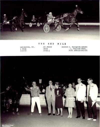 Horses; Harness Racing; Winner's Circle; Hi Peggy winning the race & Hi Peggy and owners in the Winner's Circle, 1972