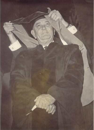Johnson, Lyndon B. and Ladybird; President Johnson at a graduation ceremony