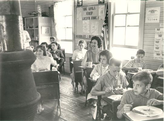 Johnson, Lyndon B. and Ladybird; Ladybird Johnson and children at school