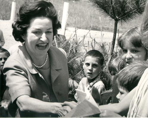 Johnson, Lyndon B. and Ladybird; Ladybird Johnson greets some children