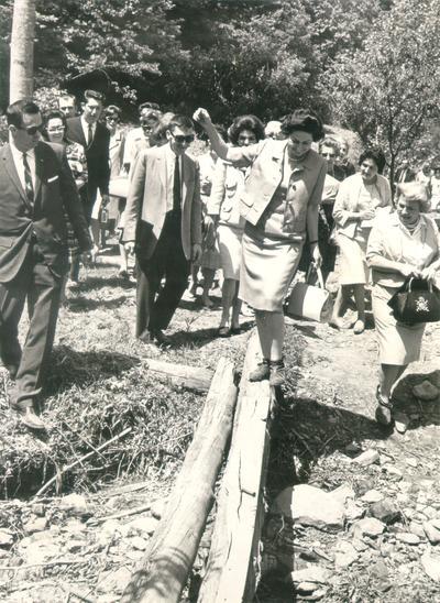 Johnson, Lyndon B. and Ladybird; Ladybird Johnson walking in the mountains of Kentucky