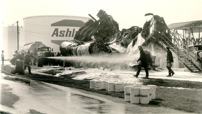 Ashland Bulk Oil Plant; 1973 Explosion and Fire; Firemen fight a dying fire