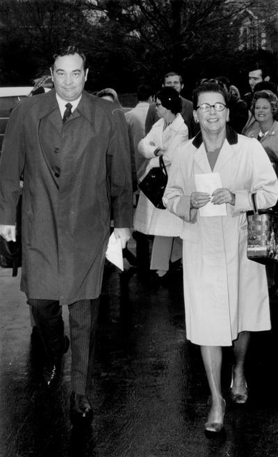 Nunn, Louie B.; Governor and Mrs. Nunn taking a walk, 1972