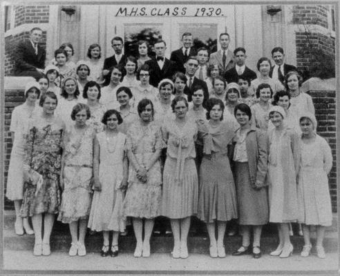 School Groups; 1930 and Earlier; Photograph of students in front of a building with