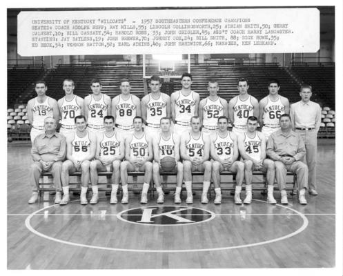 University of Kentucky; Basketball; Team Photos; 1957 team photo (labeled)