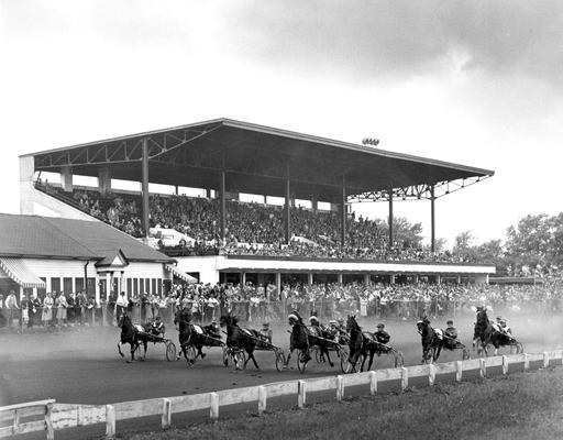 Horses; Harness Racing; Race Scenes; Racers in front of the grand stand
