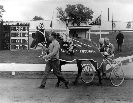 Horses; Harness Racing; Winner's Circle; Horse #6 is victorious at the 1965 Kentucky Futurity