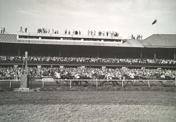 Horses; Crowd Scenes; Fans watch from the grand stand, nearby roof tops