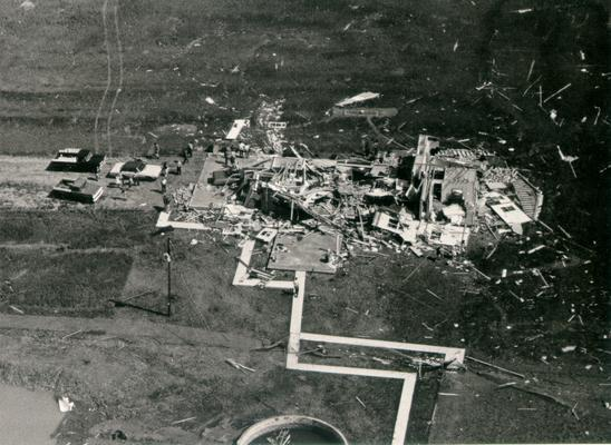 Colombia; 1971 Tornado; Scattered debris of a large structure in Colombia, KY