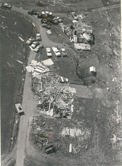 Colombia; 1971 Tornado; Extensive damage to a home and a barn