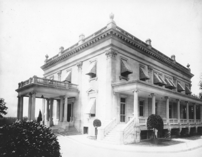Back of the Mansion, writing on lower left back