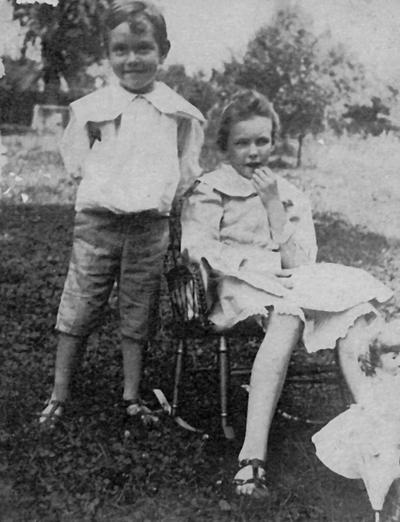 Anderson, F. Paul, Dean of Mechanical Engineering, 1892 - 1918, Dean of Engineering, 1918 - 1934, birth 1867, death April 8, 1934, Photo of Anderson as a young boy, approximately 6 years old, with sister, Virginia