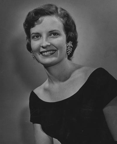 Collins, Martha Layne Hall, Alumna, Bachelor of Science, 1959, Educator, Lieutenant Governor of Kentucky, 1979 - 1982, Governor of Kentucky, 1983 - 1987, Chair, National Democratic Convention, 1984, pictured here as candidate for the Cotton Queen, December, 1958, Lexington Herald - Leader Staff photograph