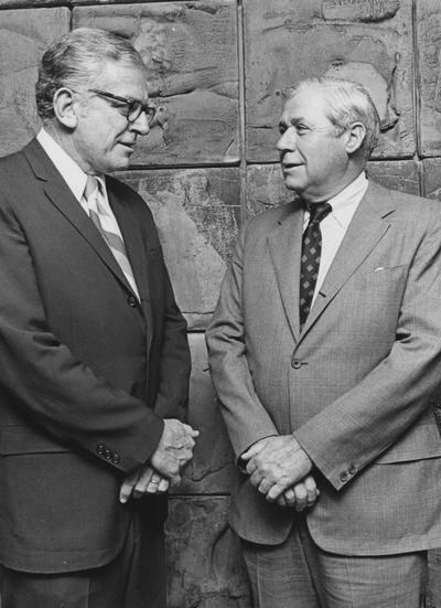 Cooper, Richard, Alumnus, Member, Board of Trustees,  1966 - 1977, Director, University Alumni Association, Director, University Development Council, pictured (right) with University President Otis Singletary