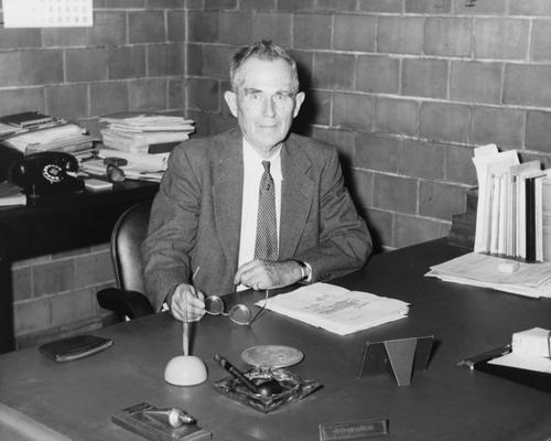 Crouse, Charles S., born 1888, died 1980, Professor and Chair, Department of Mining and Metallurgical Engineering 1918-1958, 1927-1939, Public Relations Department, Photograph featured in 1957